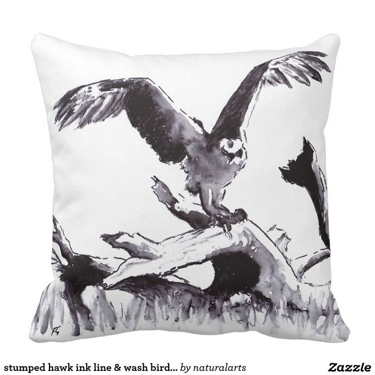 stumped hawk ink line & wash bird drawing throw pillow