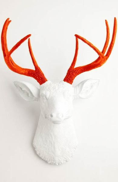 The Adelaide   Stag Deer Head   Faux Taxidermy   White w/ Orange Antlers