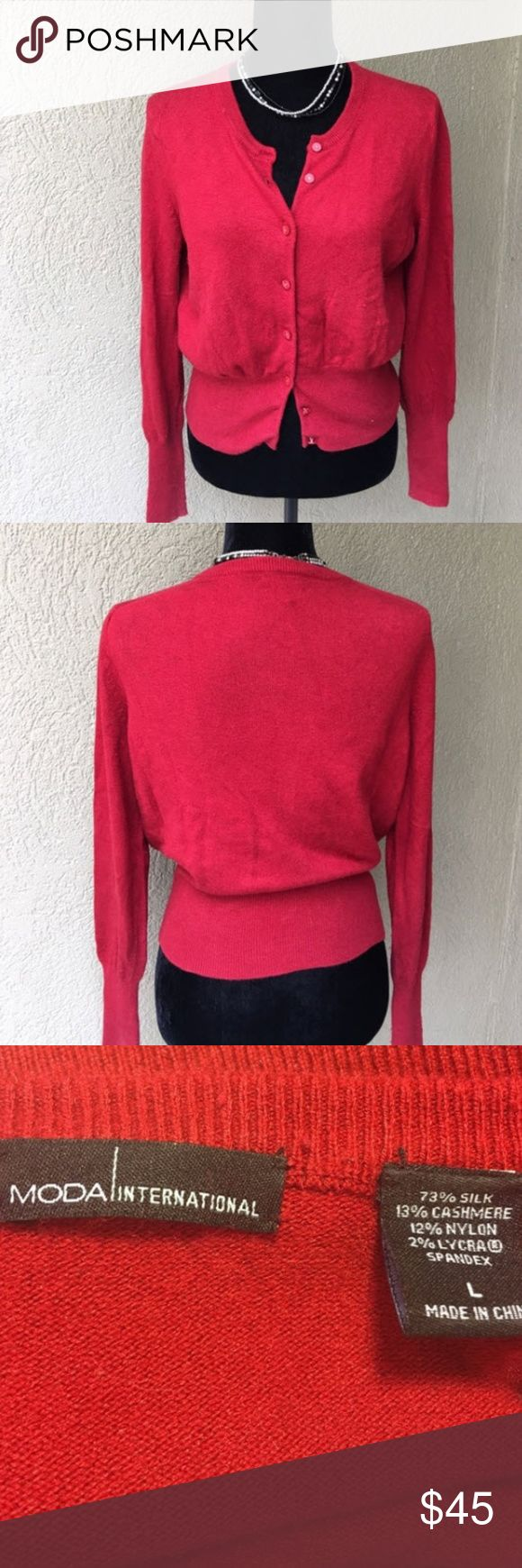 "Moda International red Silk cashmere cardigan Moda International Silk cashmere red cardigan sweater- sexy fit in great shape besides minor pilling under the arms which can be remedied with a sweater shaver. bust laying flat 21"" x length 21.5"" ✅I ship same or next day ✅Bundle for discount Moda International Sweaters Cardigans"
