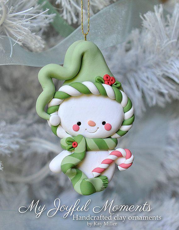 muñeco de nieve en arcilla polimerica - Handcrafted Polymer Clay Snowman Ornament