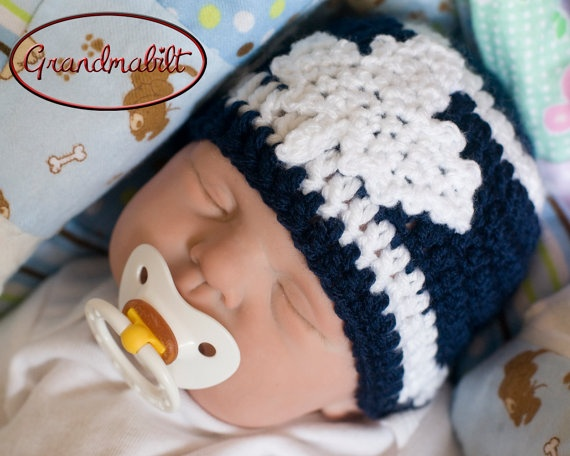 Blue and White Toronto Maple Leafs Baby Crocheted by Grandmabilt, $15.00