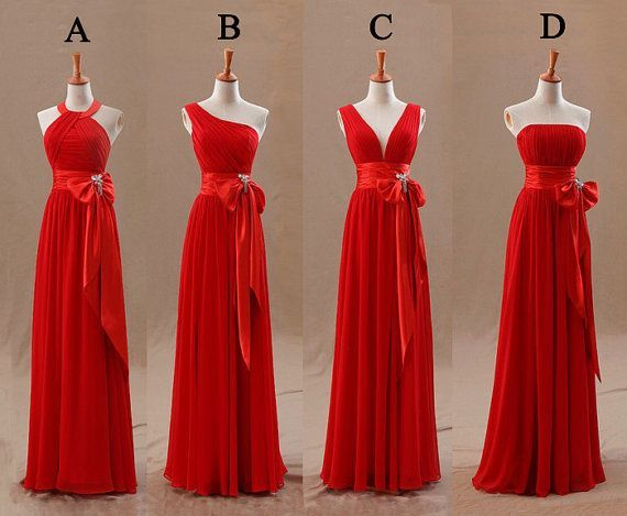 Long Red Bridesmaid Dresses | red bridesmaid dress long bridesmaid dress chiffon by fitdesign, $126 ...