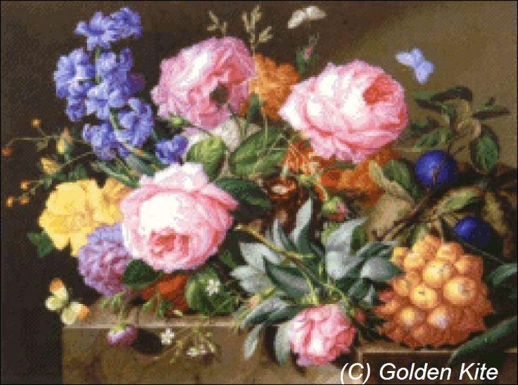 Blumen und Fruchte auf Marmorplinthe