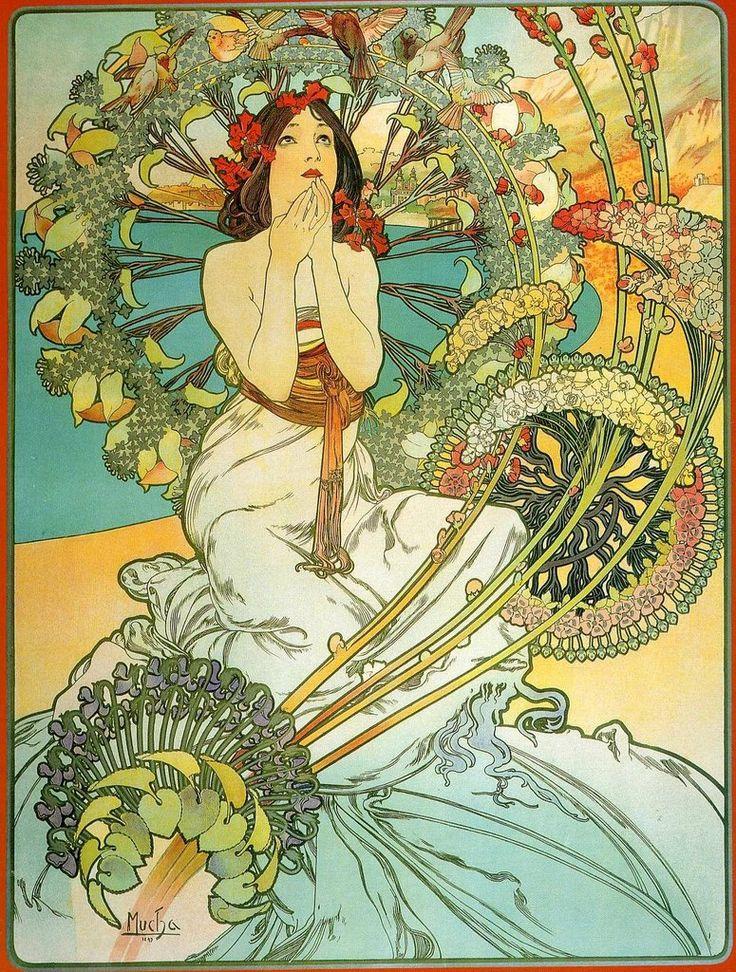 Paris. Alphonse Mucha Mixed Media Collage Art | Deux thèmes dominent d'une façon écrasante : la femme et la nature.