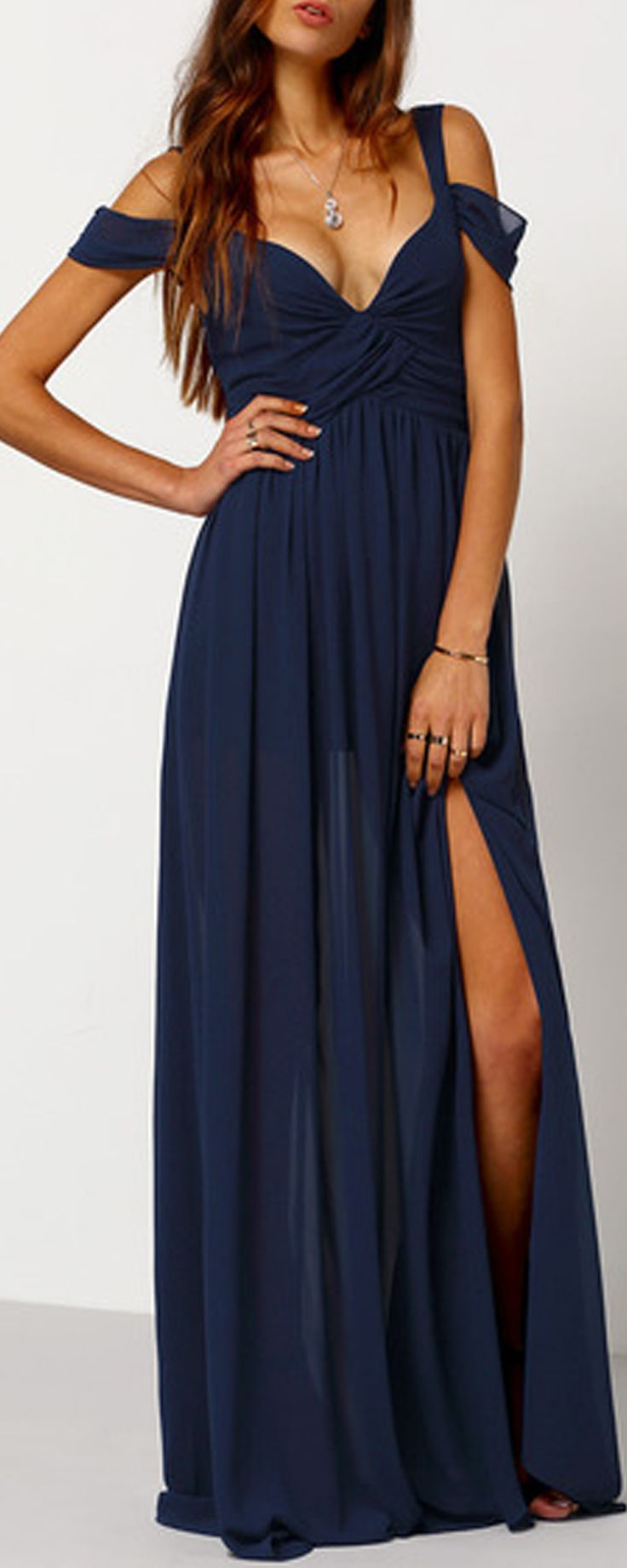 Beautiful going out shift maxi dress featured in wrap v neck&off the shoulder.Two colors for you here!