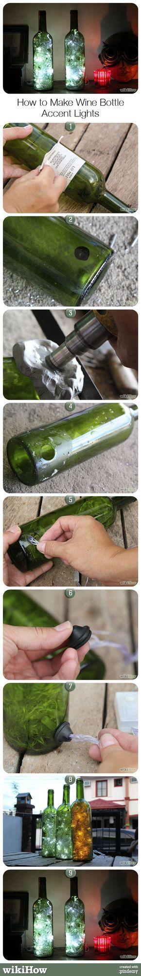 How to Make Wine Bottle Accent Lights, from wikiHow.com ...repinned für Gewinner! - jetzt gratis Erfolgsratgeber sichern www.ratsucher.de