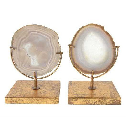 """Authentic, found natural agate gets the perfect decorative twist with a gold gilded stand. - Approx. 6-3/4""""H Agate Décor On Stand, Natural (Each One Will Vary) - Sold individually"""