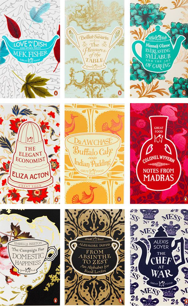 My latest dose of inspiration comes from Coralie Bickford-Smith, senior designer over at Penguin, who has been praised far and wide recently for her covers for the Great Food series. They are so elegant, homey and thoughtful.    #books #book covers #design