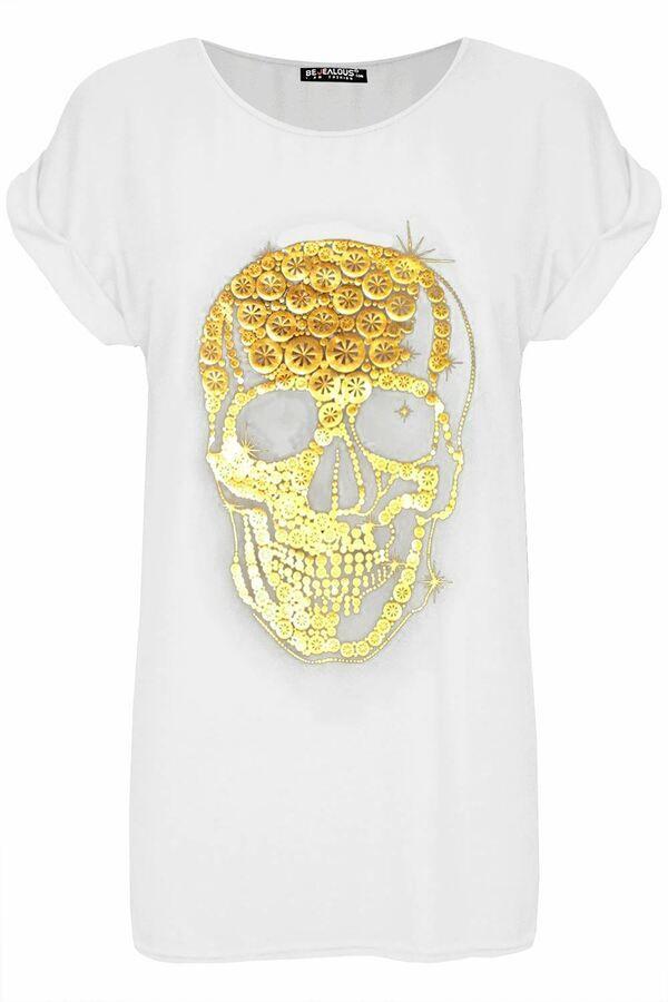 Womens Ladies Skull Printed Baggy Oversized Turn Up Cap Sleeve T-Shirt Tee Top