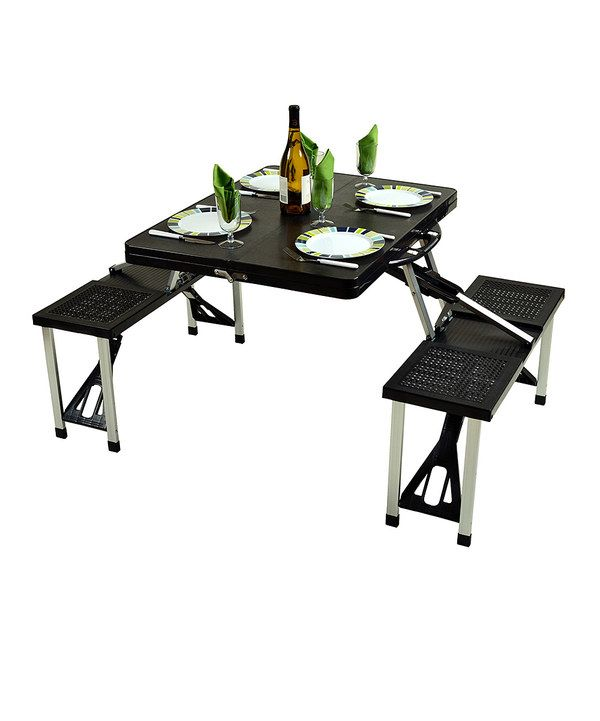 Look at this Black Portable Picnic Table Set on #zulily today!
