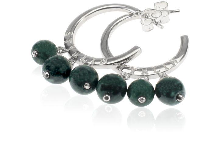 Tingeling örhängen med mörkgröna Jadeitestenar.