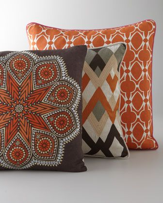 """Global Bazaar"" Pillows - Horchow The Kaleidoscope and diamond echo pillows might be good to bring in the orange that you wanted."