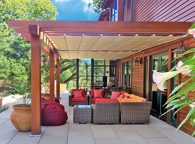Great K Welton Construction Installed ShadeFX As The Retractable Shade Solution  At A Newly Renovated Portola Valley