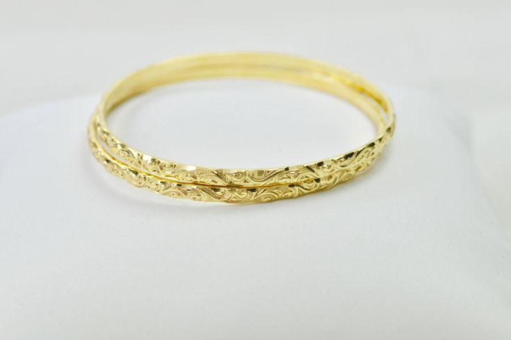 set of 2, 14k yellow solid gold baby bangle bracelets moroccan style, kids&babies bracelet, ethnic baby bangles