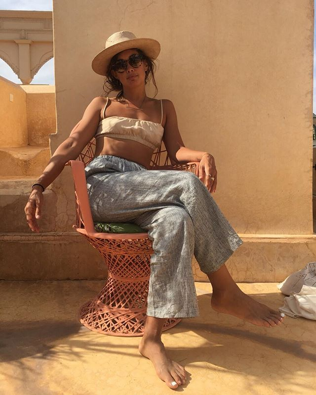 981b0b550565 Living my best life in Morocco wearing the House Top in Conch and the Crop  Wide Leg Pant Im Ticking Stripe #ozmaofcalifornia #effortlessstyle ...