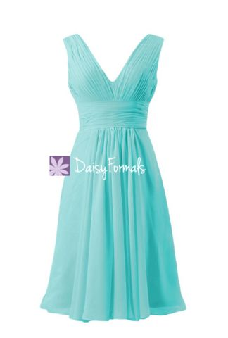 Crisp Tiffany Blue Formal Dress Deep V-neckline Women Party Dress (BM1 – DaisyFormals-Bridesmaid and Formal Dresses in 59+ Colors