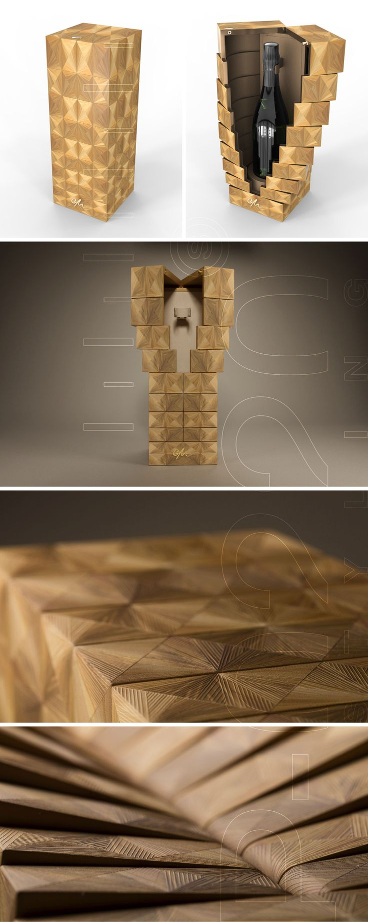 100% PACKAGING & DESIGN SA | Écrin Champagne / Champagne Box designed by Pozzo di Borgo Styling. Fabriqué par / Made by RS Agencement Steiner, Gainerie Moderne, Huguenin-Sandoz, Cosmo Packaging.