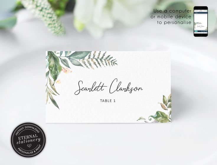 Editable Place Card Template Leafy Eucalyptus Watercolor Wedding Place Cards Name Table Card Leaf Botanical Eucalyptus Scarlett Place Card Template Card Template Wedding Place Cards