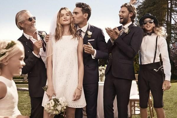 Behati Prinsloo and Adam Levine Posing for Wedding Photos in Tommy Hilfiger 'I Do' Campaign.