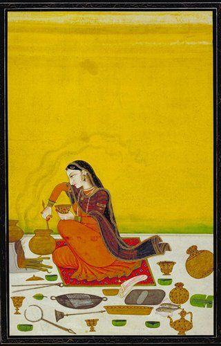 A Lady Prepares a Meal, from the online image database from the Chester Beatty Library, an amazing collection of fantastic illuminated manuscripts, books and other works on paper!