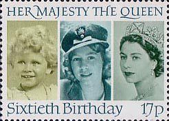60th Birthday of Queen Elizabeth II 17p Stamp (1986) Queen Elizabeth II in 1928, 1942 and 1952
