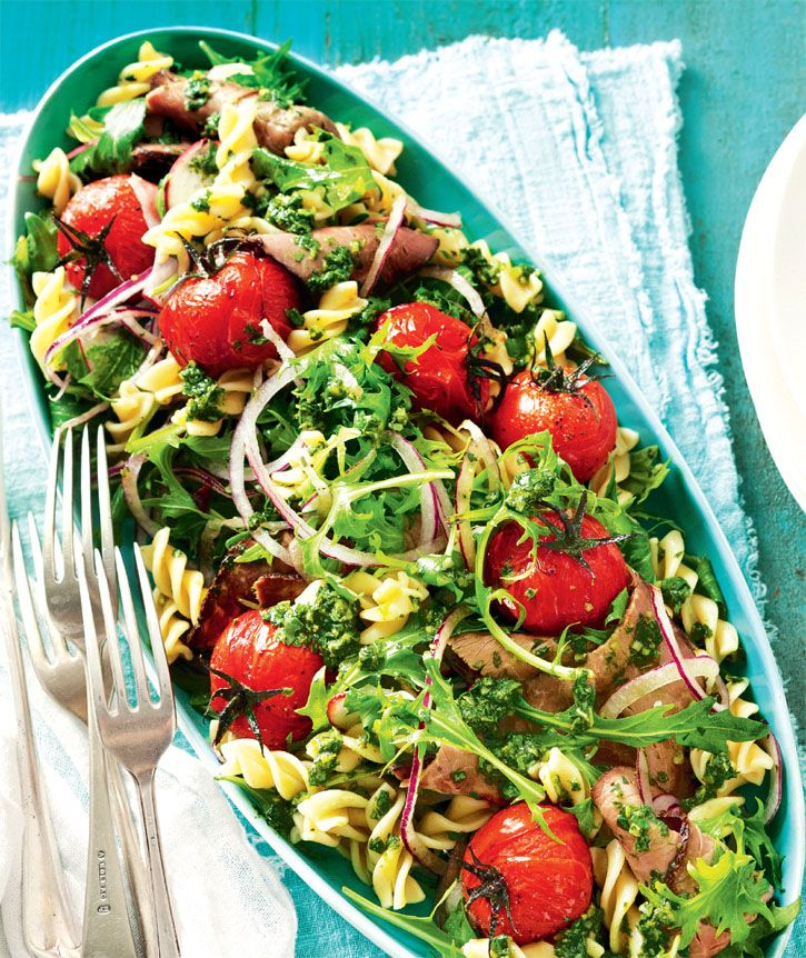 Beef pasta salad. A healthy and delicious weeknight meal idea. #Woolworths #recipe #salad http://www.woolworths.com.au/wps/wcm/connect/Website/Woolworths/FreshFoodIdeas/Recipes/Recipes-Content/beefpastasalad