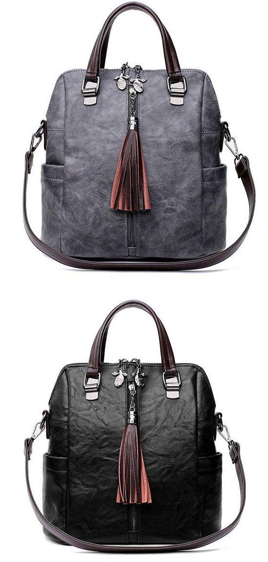 Retro Leather Backpack Multi-function Tassel Handbag Backpack Women s  Shoulder Bag  backpack  Bag  school  retro e523e7c5d27c6