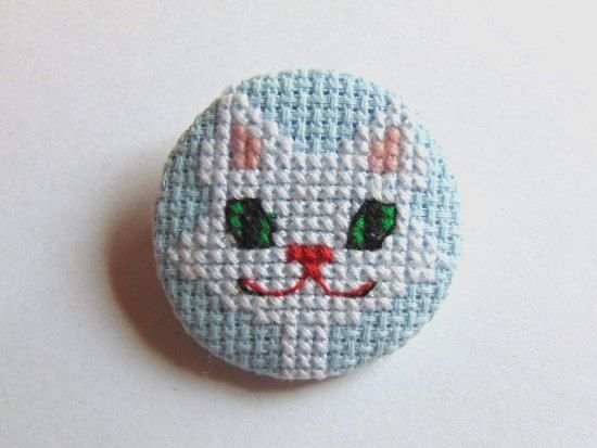 Hand embroidered brooch Cat's look. by MaRenaMaRa on Etsy