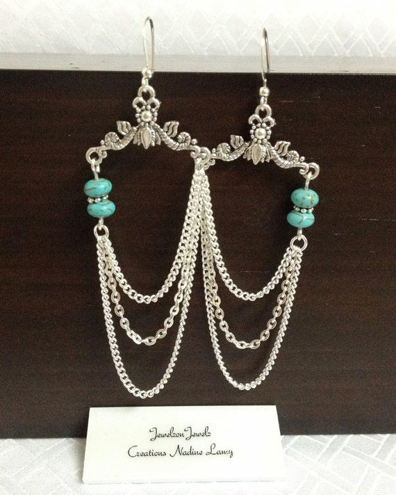 Turquoise Chandelier Earrings//Silver Chandelier by JewelzonJewelz