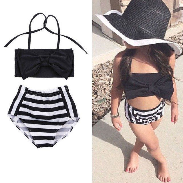 Black and White Two Piece Swimsuit For Toddler and Girls With Black Bow