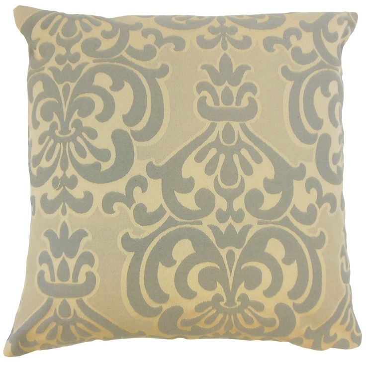"Sarane Damask 24-inch Down Feather Throw Pillow Truffle (24"" x 24""), Grey, Size 24 x 24"