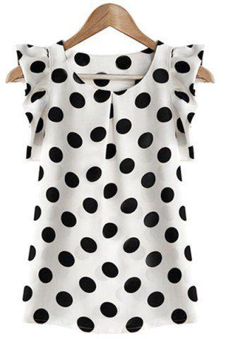Trendy Scoop Neck Polka Dot Flounce Blouse For Women