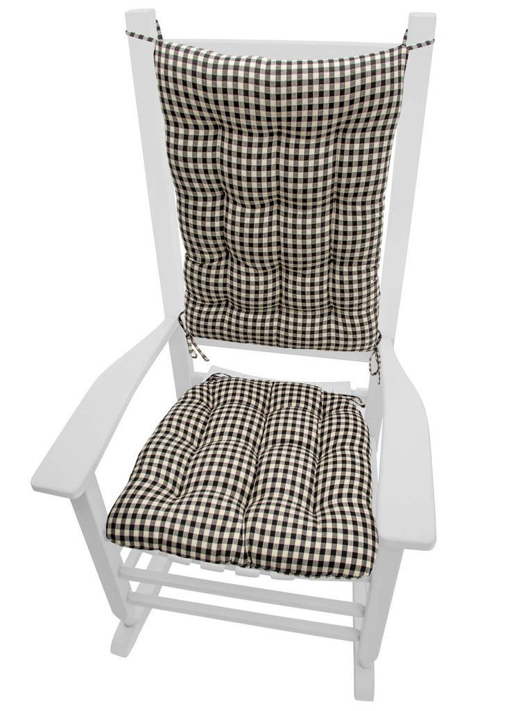 Checkers Black U0026 White Checkered Rocking Chair Cushions   Latex Foam Fill