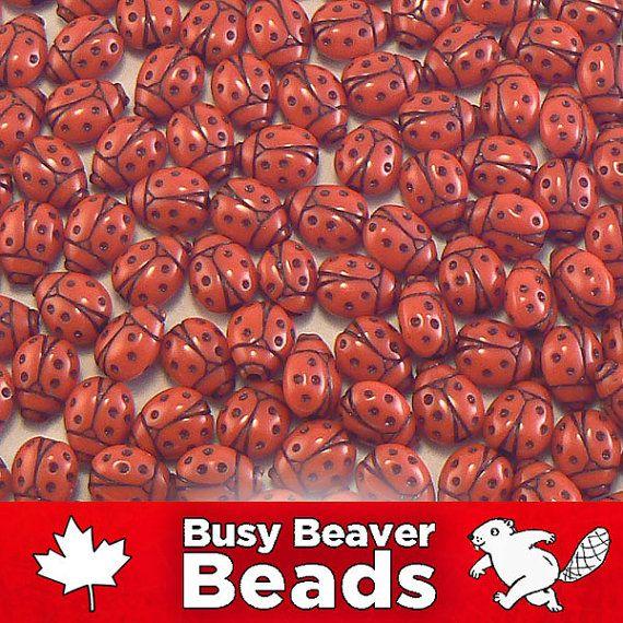 80 Ladybug Acrylic Plastic Beads Craft Beads 11mm-Hot glue to mason jars