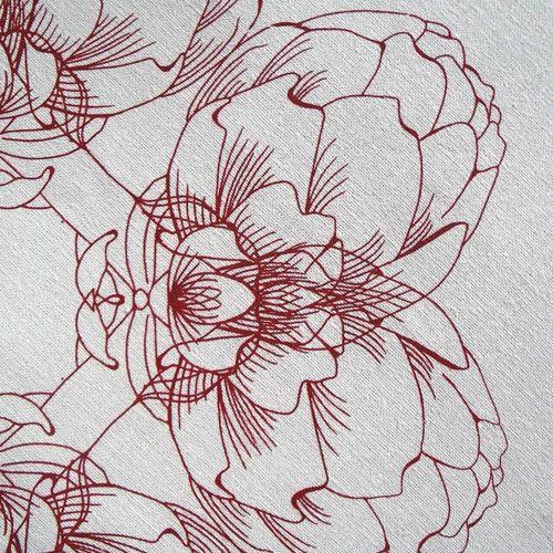 Unbleached Linen Tea Towel - Artichoke Red | Love the graphic lines.