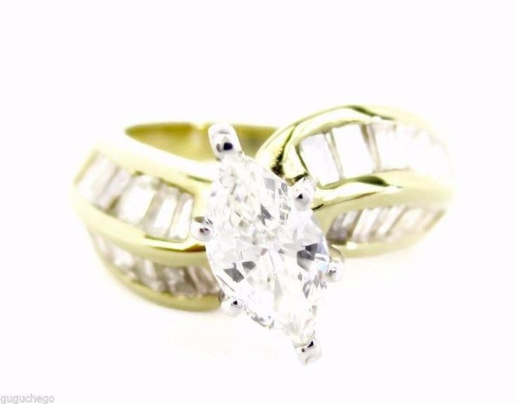 Vintage 1.50CT Fine Diamond Engagement Ring Marquise & Baguette 14K Yellow Gold #Handmade #SolitairewithAccents #Engagement