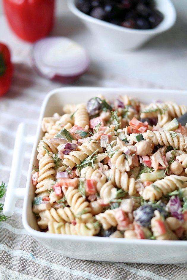 Mediterranean Dill Pasta Salad with Tahini Vinaigrette Dressing
