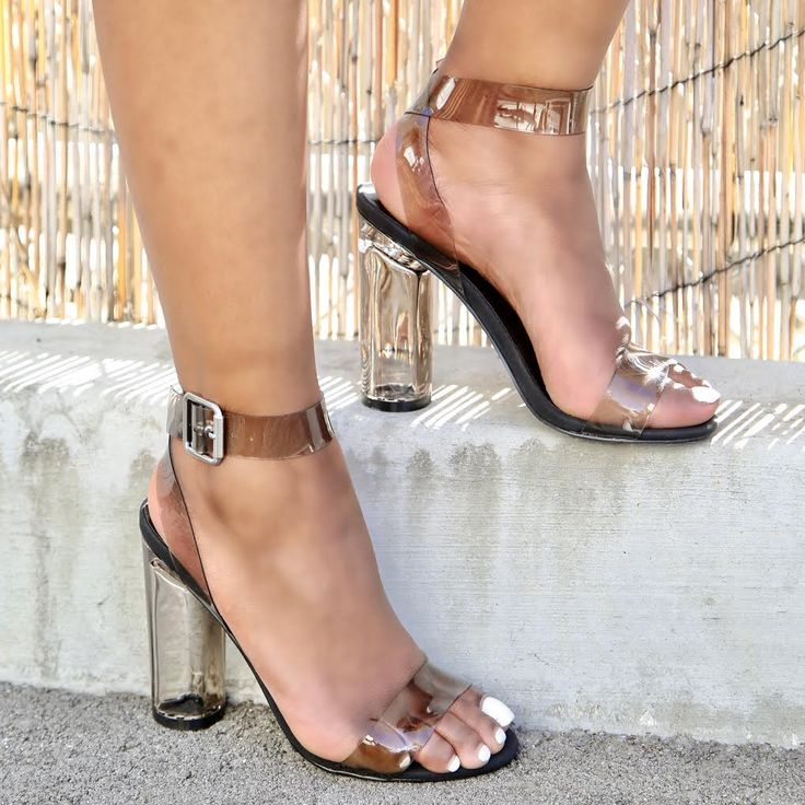 Smoke Accent Open Toe Round Clear Chunky High Heels Faux Leather