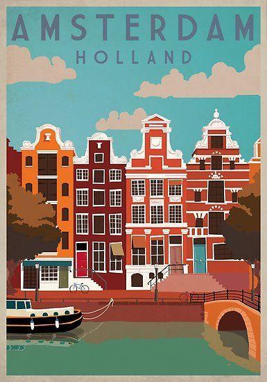 Capitale dei Paesi Bassi, Regno dei Paesi Bassi, poster poster di viaggio – #h …