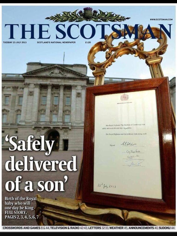 """TAPA de """"The scotsman"""" por el nacimiento del primógenito de Kate y William"""