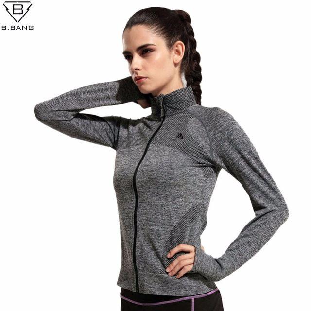 Bbang женщины быстро сухой спортивные куртки с длинными рукавами свитшот одежда для бега фитнес спорт молния флис верхняя одежда