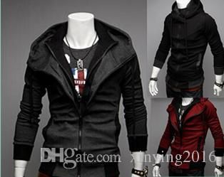 Hoodies Men Jackets Plus Size Slim Assassin Creed Desmond Style Patchwork Cotton Casual Sweatshirts Cardigan Coat Black Gray Red M Xxl Pwy10 Men Leather Jackets Corduroy Jacket From Xinying2016, $16.47| Dhgate.Com