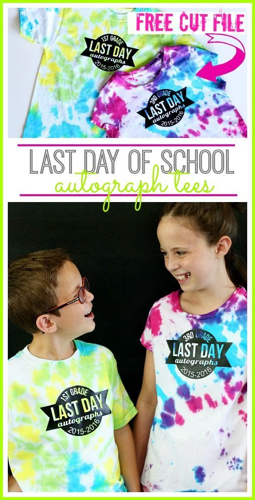 Last Day of School Autograph Tee - make your own with this FREE cut file!! - - Sugar Bee Crafts