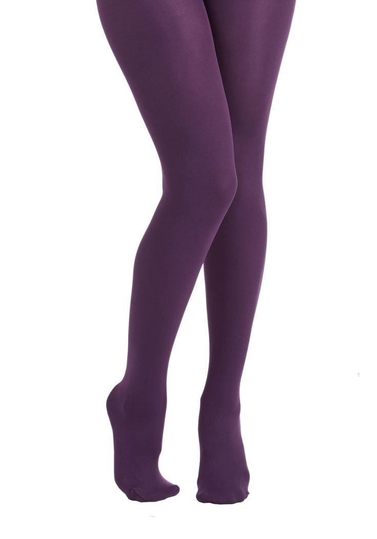 Accent Your Ensemble Tights - Purple, Solid, Casual, Fall, Winter, Basic, Purple, Sheer, Knit