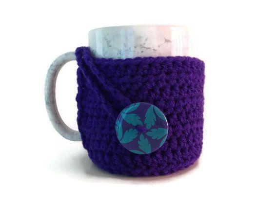 Purple Coffee Mug Cozy  Coffee Cup Sweater  Mug by TheHookingWench, $10.00