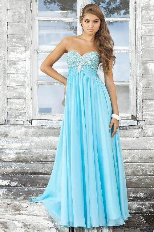 Light baby blue prom dresses