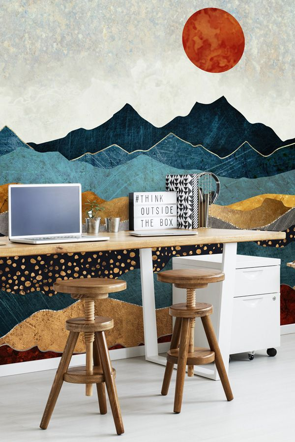 Add Some Colour To Your Home Office With An Abstract Landscape Mural