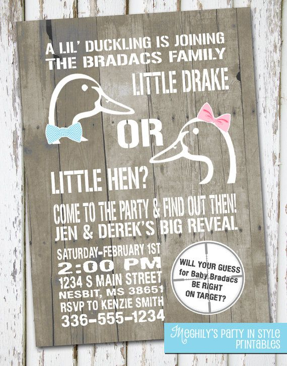 Hunting Theme  Duck Gender Reveal Invitation by Meghilys on Etsy, $10.00