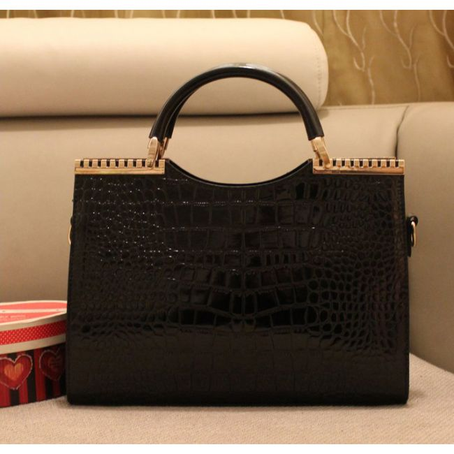 Chic Glossy Faux Croc Metal Trimmed PU Hobo for Women Free Shipping