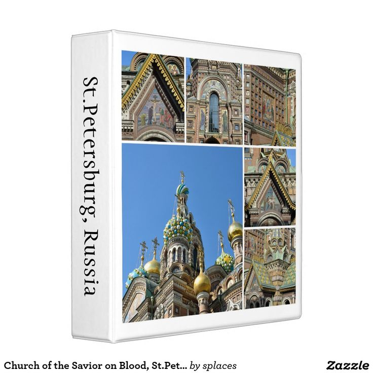 Church of the Savior on Blood in Saint Petersburg, Russia. Collection (collage) of images  Binder